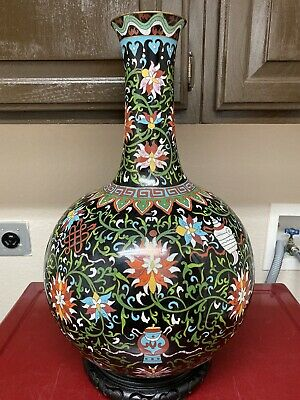 A Very Fine Huge Antique Chinese Cloisonne Enamel Brass Tianqiu Bottle Vase 21""