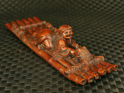 chinese old boxwood Handcarved belle Jin Chan statue fortune home decoration