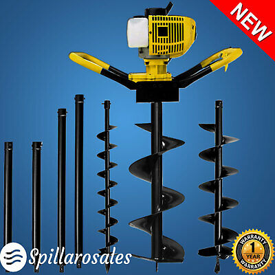 Post Hole Digger 80cc Petrol Earth Ground Borer Auger Drill Kit 3m Max Depth