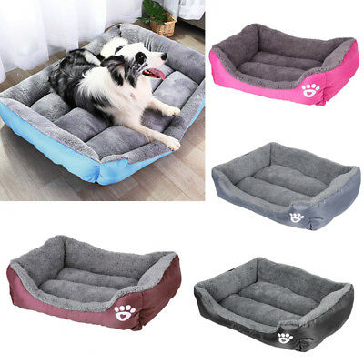 Large Waterproof Pet Dog Puppy Cat Fleece Fur Cushion Bed Warm Kennel Mat Basket