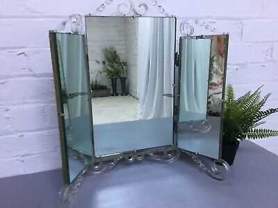 Art Deco Triple mirror dressing table lucite decoration good quality 3 section