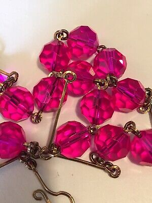 art deco Vintage Style Cerise Pink Faceted Glass Crystal bead Paste necklace