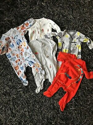 baby Boys X5 sleepsuits/babygrows Bundle 0-3 Months Next Mother care