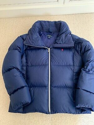 Blue Polo Ralph Lauren girls quilted puffer jacket coat  hood age 10 - 12 years