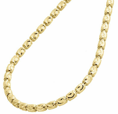 "Solid 10K Yellow Gold Diamond Cut Barrel Necklace Chain 4MM 28""  28 Inch Mens"