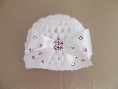 Hand crochet Romany bling white baby girls beanie with large white bow 0-3mths.