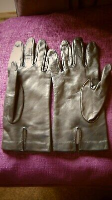 Ladies Vintage DENTS Black Leather Gloves Silk Lined ~ Size 7.5