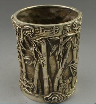 Chinese old tibetan silver handwork carved bamboo brush pots /Td02