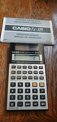 Vintage Casio FX-115 Solar Powered Scientific Calculator With Case And Manual
