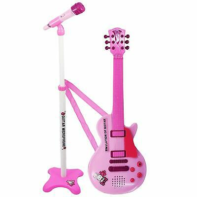 Kids 6 String Pink Electric Play Guitar & Microphone Set with Stand