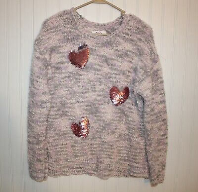 Justice Sweater * GIRLS 18 XL * Flip sequin hearts * pink * SOFT large knit