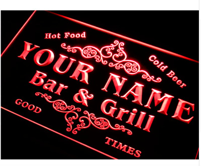 Personalized indoor Custom Family Bar & Grill Beer LED Neon Sign on/off switch