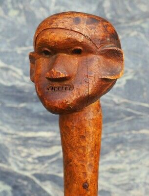Unusual East South African Tribal Art Knobkerrie Club With Carved Facial Tattoos