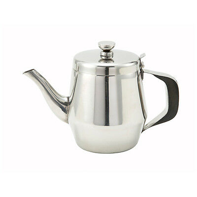 Winco JB2932, 32-Ounce Gooseneck Teapot with Handle, Stainless Steel