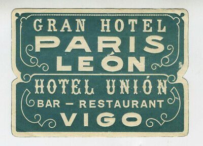 Antique Label Suitcase Hotel Paris Leon, Old Luggage Label