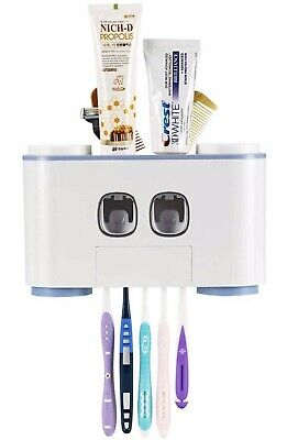 Toothbrush Holder-Wall mounted, Automatic Toothpaste Dispenser, 4 Cups