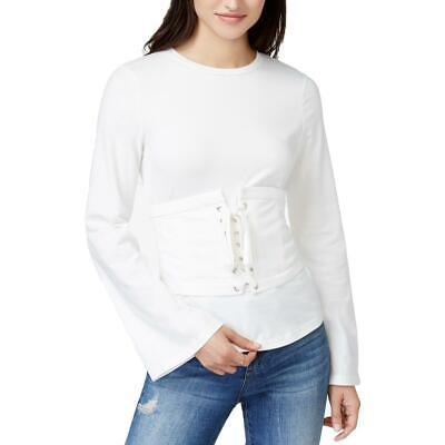 Endless Rose Womens White Long Sleeves Crew Neck Corset Top Shirt L BHFO 4553