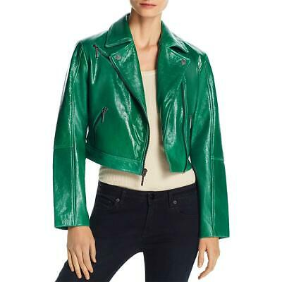 Kenneth Cole New York Womens Green Cropped Motorcycle Jacket Coat S BHFO 1535