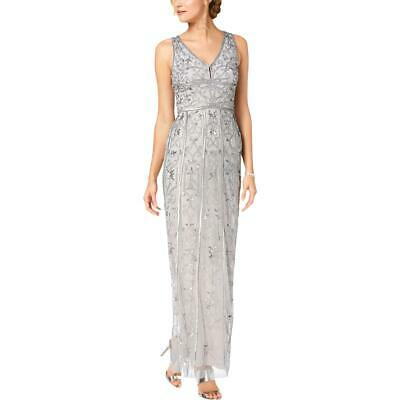 Adrianna Papell Womens Gray Beaded Formal Evening Dress Gown 4 BHFO 1769