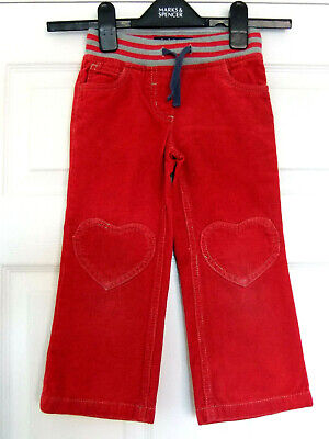 Girls Mini Boden Bright Red Needlecord Elasticated Waist Trousers ~ Age 4yrs
