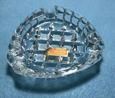 Vintage Diamond Crosshatch Handcut Lead Crystal Ashtray Mid Century