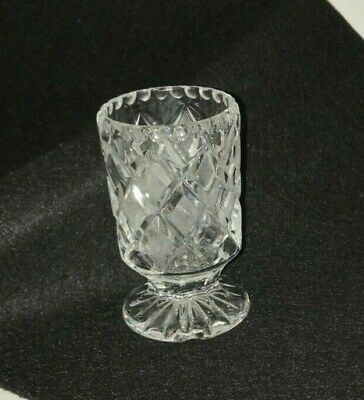 Vintage Diamond Crosshatch Handcut Lead Crystal Goblet Mid Century