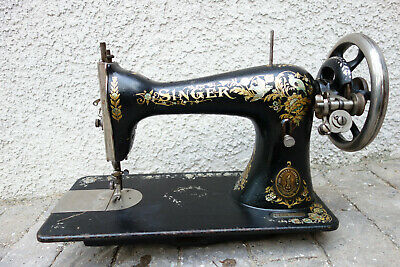 1903 ANTIQUE SINGER SEWING MANUAL MACHINE MODEL 15 Works well rare decal design