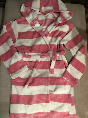 Girls Dressing Gown - 12-13years - Pink White Striped - Fluffy Soft