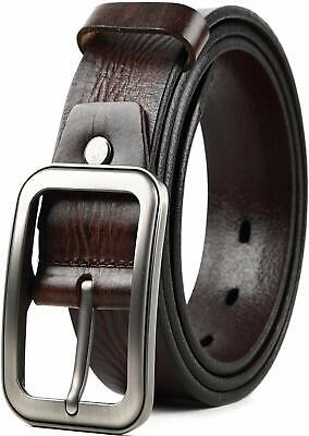 Mens Leather Belt,Full Grain Leather Belt For Casual Dress Jeans - Single Prong