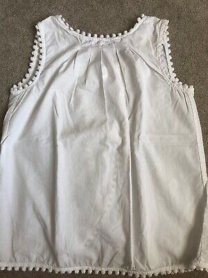 Girls Carter's Top - 8years- White- Spit Back Design- Pompom Detailing At Seams