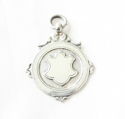 Antique solid silver sterling fob medal Birmingham hallmarks dated 1937