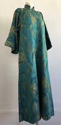 Antique 1920s 30s Art Deco Green Silk Brocade Chinese Cheongsam Qipao Dress VTG