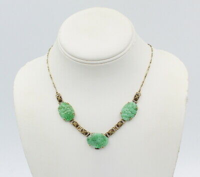 """Vintage 14K Yellow Gold Filigree And Carved Jade Oval 18"""" Necklace #7122-1"""