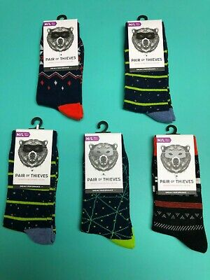 Pair of Thieves Crew Socks Boy's 5 pairs LOT  M/L Shoe Sizing 7-11  New with Tag