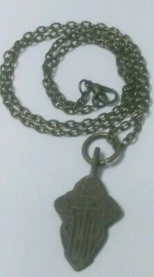 Ancient Religious Genuine Medieval Viking Era Cross Pendant Necklace Artifact