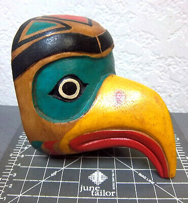 beautiful! Wood Tribal Style Eagle Mask hand carved and hand painted