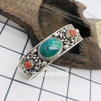 Tibet tribe jewelry Handwork pure silver inlay coral turquoise bracelet bangle