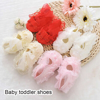 0-12M Newborn Baby Infant Girl Non-Slip Lace Flower Baby Shoes Soft Sneaker