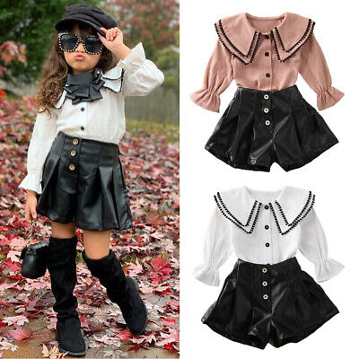 2PCS Kids Baby Girl Clothes Princess Tassel Tops Shirt Leather Shorts Outfit Set