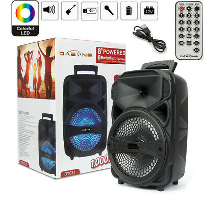 "8"" 1000W Portable FM Bluetooth Speaker Subwoofer Heavy Bass Sound System Party"