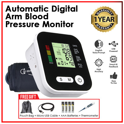 Automatic Heart Rate Tracker Arm Digital Blood Pressure Monitor(English Command)