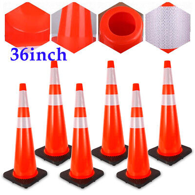 """6 x 36""""  Road Traffic Cones Red & White Safety Cone w/Reflective Strip SALE"""