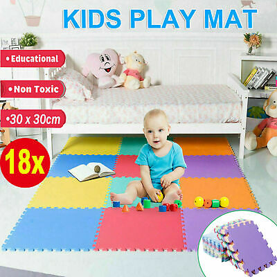 Eva Foam Mat Soft Floor Tiles Interlocking Play Kids Baby Mats Gym 30CMX30CM UK