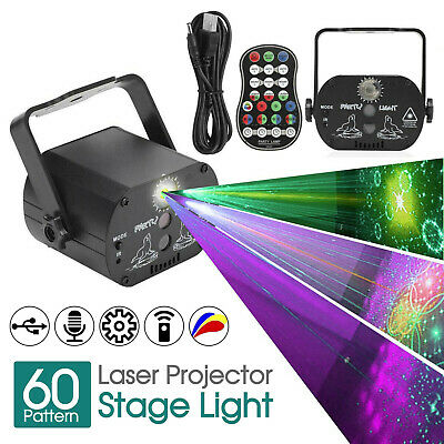 60 Pattern RGB Laser Lamp DJ Projector Disco LED Stage Effect Party Decor Light