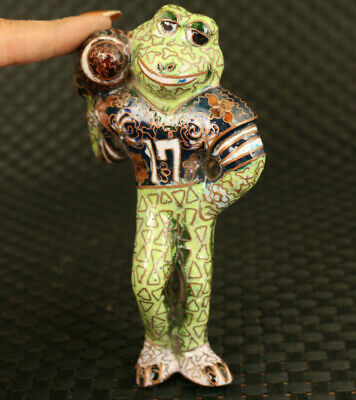 rare Old cloisonne Handcarved frog statue not stand noble decoration gift