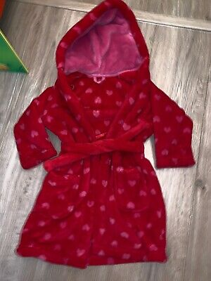 M&S Toddler Girls red dressing gown with pink hearts age 1 1/2- 2 years