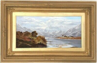 Loch Lubnaig Scotland Antique Oil Painting by Charles Leslie (British, 1835-1890
