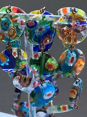 art deco Bohemian Vintage Style,millifiore Stained Glass Lampwork bead necklace