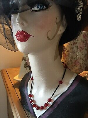 art deco Vintage Style Ruby Red / BlackFaceted Glass Crystal bead Paste necklace