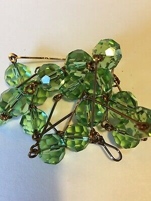 art deco Vintage Style Peridot Green Faceted Glass Crystal bead Paste necklace
